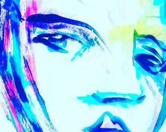 Blue Face Print
