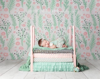 Newborn Baby Photography Prop Bed, Mattress and ruffle set
