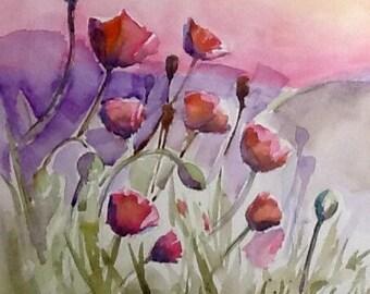 "Original watercolor Paintings, ""Poppies at Sun Up"" free shipping"