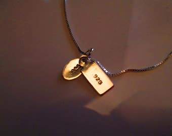"""Minimalist Sterling Necklace with 2 stamped Tags with 18"""" Sterling Chain.  (FREE SHIPPING)"""
