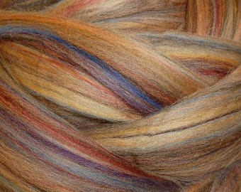Dyed Merino - Sandalwood- Multicolor commercial dyed - combed top roving spinning felting fiber fibre arts - brown cream purple pink