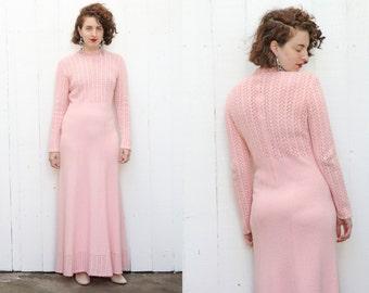 SALE Vintage 70s Dress | 70s Long Pink Cotton Knit Dress Long Sleeve | Medium M Large L