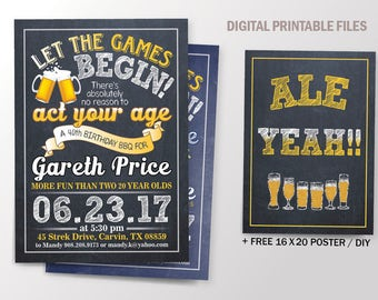 Beer & BBQ Birthday Party invite, Act your age Cheers and Beers Anniversary Celebration. Chalkboard Theme. DIY