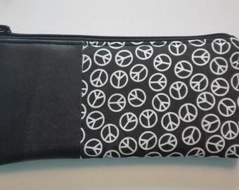 case, pencil case, leather bag, bag leather, peace signs, symbols peace