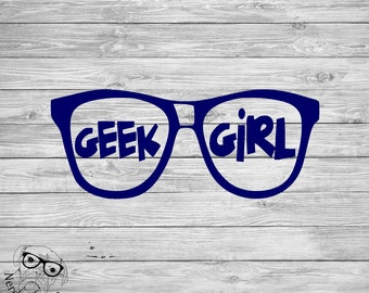 Geek Girl Decal, Geek Decal, Nerd Car Decal, Geek Laptop Decal, Geek Girl Glasses, Nerd Girl Decal, Nerd Glasses -Your choice size and color