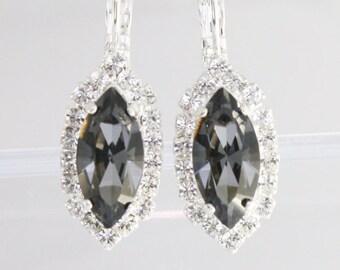 Marquise earrings,Navette earrings,bridal earrings,bridesmaid earrings,Swarovski Silver Night,Grey crystal earrings,gray wedding jewelry
