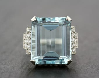 Vintage Aquamarine Ring - 1950s Aquamarine & Diamond Cocktail Ring - Art Deco Aquamarine Statement Ring