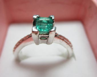 OH SOLD_Ladies sterling .55ct genuine Columbian fine emerald in wonderful untreated color