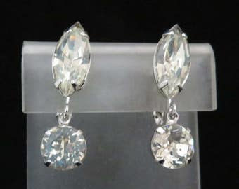 Eisenberg Crystal Earrings, Vintage Crystal Dangles, Silvertone Clip-on Earrings, Signed Eisenberg Jewelry, Bridal Earrings, FREE SHIPPING