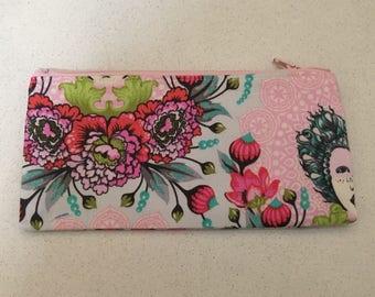 Pink floral zip bag/pencil case.