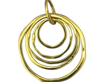 1 Hammered Gold Circle Pendant Necklace 68x53mm by TIJC SP1482