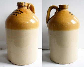 Vintage  Hipwell&Co. The Brewery Olney. Price of Bristol Large Rustic Two Tone Heavy English Stoneware Flagon Large Bottle with Handle