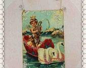 valentine, card, decoration, cupid, swan, vintage, antique, postcard, victorian, paper, ornament #14