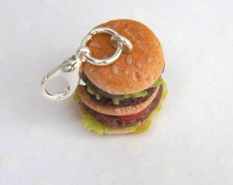 Hamburger Charm, Food Charm, Burger Charm, Polymer Clay Food, Miniature Food Jewelry, Stitch Marker, Progress Keeper, Planner Accessory