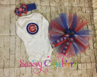 Chicago Cubs tutu outfit for newborns,kids,any age,baby cubs tutu outfit,baby shower gift