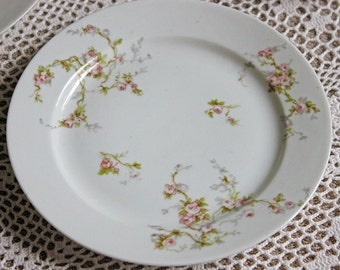 Antique Limoges Redon Salad Plate Replacement. Tiny Pink Roses and Leaves Pattern. Fine French Porcelain Table Ware Replacement.