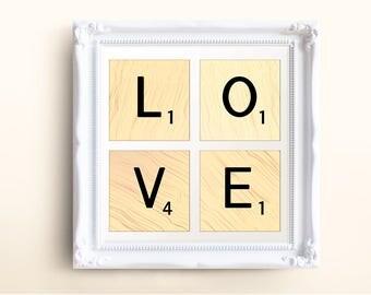 INSTANT DOWNLOAD Art Set, Printable Scrabble LOVE Wall Art, Printable Art Set, Digital Art Download, Printable Word Art, Printable Decor