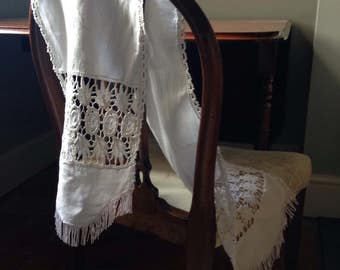Vintage Linen Table Runner with Hand Crochet Lace and Fringing, VTC195