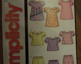 Simplicity 5644, sizes XXS thru large, UNCUT sewing pattern, craft supplies, babies dress, tops, pants,
