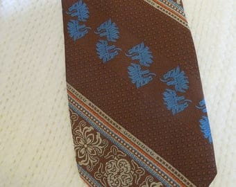 "Prince Bellini men's necktie, 54"" long and 4"" at widest point, bronze, cream, orange, blue,  mens accessory, prof. cleaned/pressed"