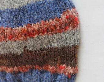 Child hat, hand knit, scrap hat. Alpaca, wool