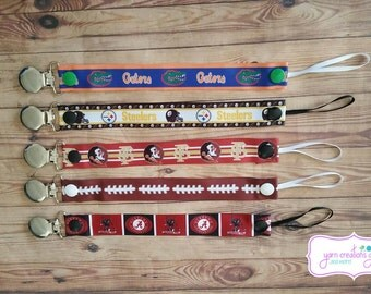 Soothie Pacifier Holder- Sports-Football-Gators-Steelers-Seminoles-Alabama