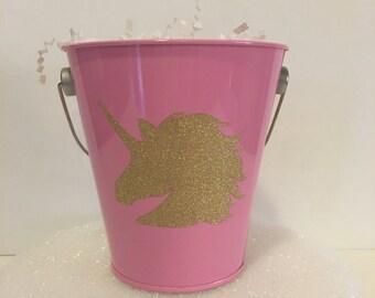 5 Unicorn tin pails
