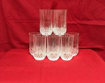 Ten Flat Tumblers Glasses Lead Crystal Longchamp Cristal D'Arques (Reduced)