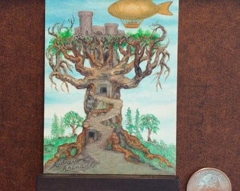 STEAMPUNK AIRSHIP and TREE Original Miniature Oil Painting by Audrey Rawlings Arena