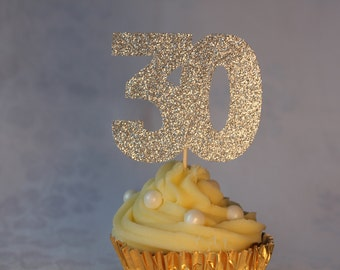 30th Birthday Glitter Cupcake Topper, Set of 12, Various Colours Available