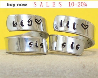 Big Sis - Lil Sis Rings - Personalized Rings..  Write inside your Names / Dates.