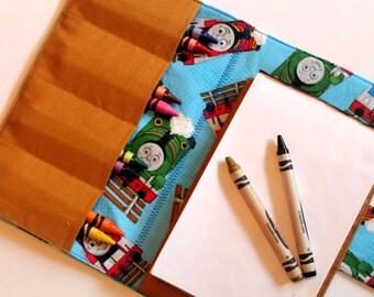 Small Crayon Case - Thomas the Train print - crayon wallet - travel activity case - art wallet