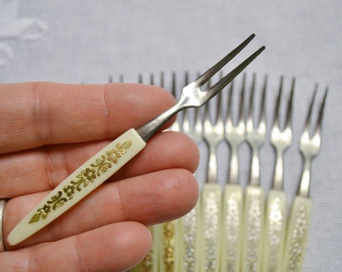 Vintage Cocktail Fork Set of 12 Appetizer Stainless Steel Plastic Cream Silver Gold PanchosPorch