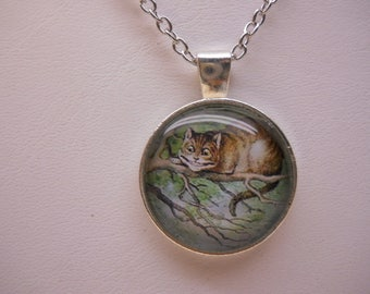 Cat Necklace Kitten on Branch Statement Necklace
