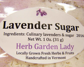 Lavender Sugar - 1 ounce, Culinary Organic Lavender, Lavender Lover, Gift for the Chef, Holiday Gift, Baking, Rimming Sugar, New Years Eve