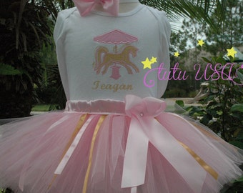 Pink and Gold Carousel Baby Girl 1st Birthday Tutu Outfit, Carousel Birthday, Carousel Dress, carousel Tutu,Carousel Birthday Tutu Outfit