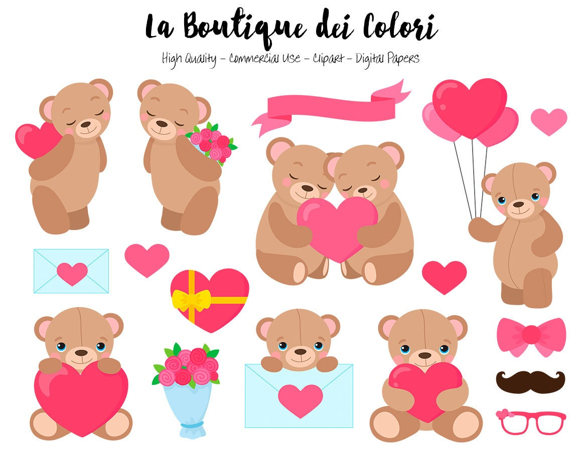 Valentine's Day Teddy Bear Clipart Cute Digital Graphics