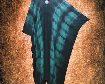 Turquoise Shibori V-neck Artwork Kaftan dress Hand Dyed Casual Caftan