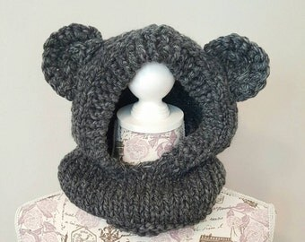 Bear Hood - Child Hat - Animal Hood - Charcoal