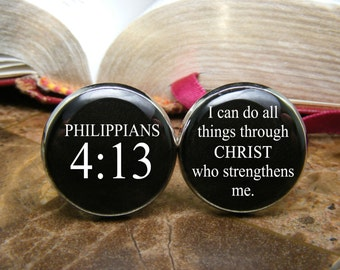 Philippians 4 13 - I can do all things through Christ who strengthens me - Cufflinks - Bible Verse - Scripture Quote - Religious gift