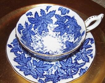 Beautiful COALPORT  blue teacup and saucer