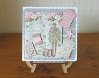 Tilda Sewing Angel Ladies Birthday Card