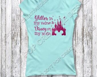 Glitter Veins Disney Brain Ladies Shirt