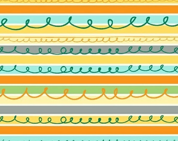 Half Yard Animal ABCs - Stripes in Yellow - Stripe Cotton Quilt Fabric - by Whistler Studios for Windham Fabrics - 41325-3 (W3589)