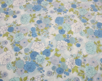 Vintage Twin Flat Montgomery Ward Percale Sheet Blue Floral