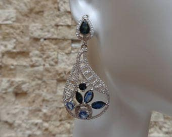 Dark and Light Sapphire earring in Sterling Silver with pave cz