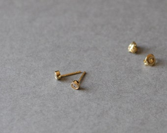 Gold Tiny CZ Dot Studs Earring 4mm - Gold plated over Sterling Silver