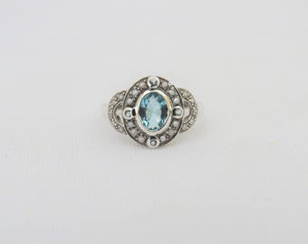 Vintage Sterling Silver Aquamarine & Seed Pearl Ring Size 7