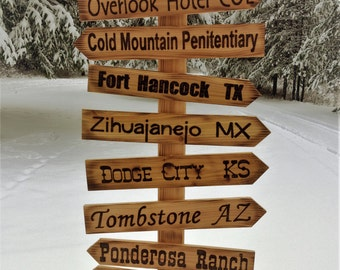 Whimsical directional sign post