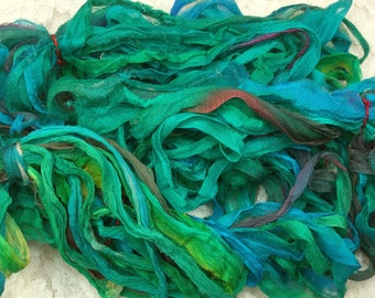 "Hand dyed chiffon silk ribbon 1/2 to 1"" wide 5 yds turquoise blues journaling embellishment yarn quilting spinning knitting mixed media"